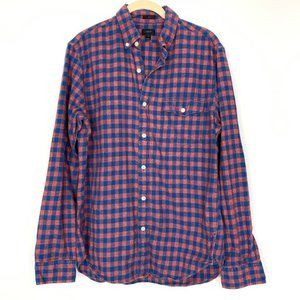 J Crew Brushed Twill Gingham Button Down Shirt